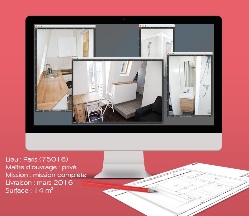 Regroupement de chambre de service pour création d'un studio, Paris