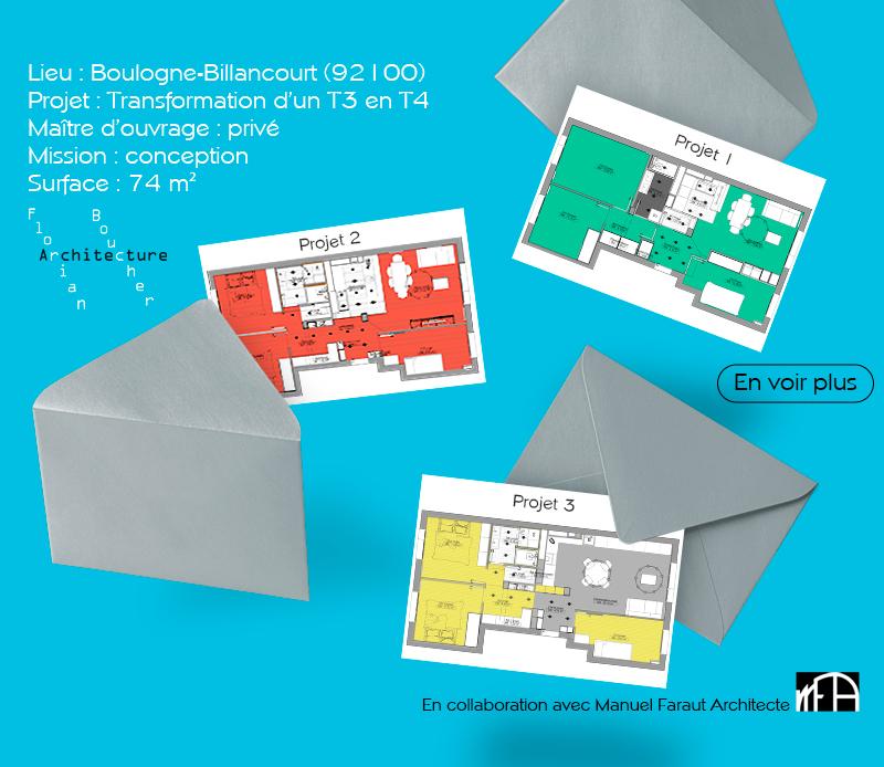 fb-archi-Faisabilite Transformation d'un T3 en T4 à Boulogne